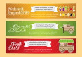 Banners para carrinho de comida vetor