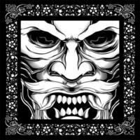 crânio de bigode de estilo japonês vetor