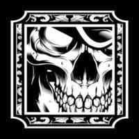 esqueleto retrô preto e branco vetor