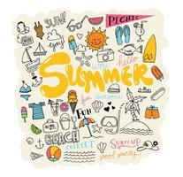 Vetores de elementos de verão desenhados a mão
