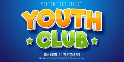 efeito de texto do estilo dos desenhos animados do clube da juventude vetor