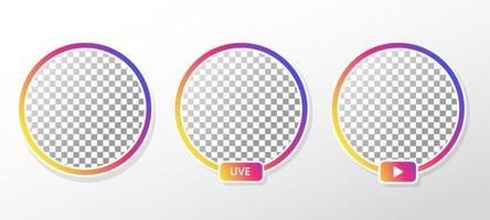 quadro de perfil de círculo gradiente para transmissão ao vivo vetor