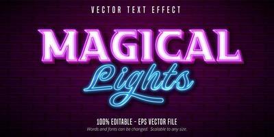 efeito de texto de néon de luzes mágicas vetor