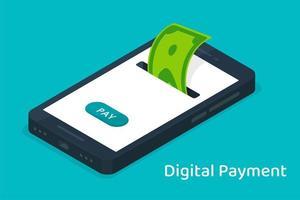 telefone celular com moeda digital para compras on-line vetor