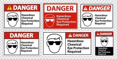 proteção química ocular perigosa sinais necessários vetor