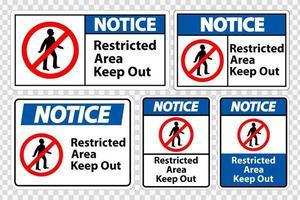 observe a área restrita, mantenha os sinais vetor