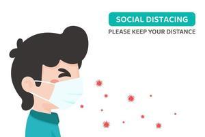coronavírus passando através do cartaz de distanciamento social da máscara vetor