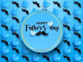 design azul do dia dos pais com corações e bigodes vetor