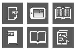 Livro, conjunto de ícones Ereader vetor