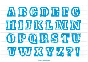 Alfabeto em estilo de acidente de pintura azul desordenado vetor