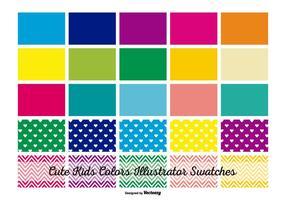 Swatches ilustradores de cores para crianças vetor