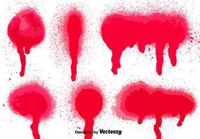 Conjunto de 6 salpicos de pintura a pistola vermelha vetor