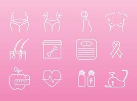 Ícones de saúde e beleza feminina vetor