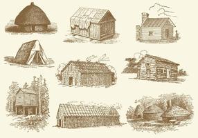 Cabanas e barracas vetor