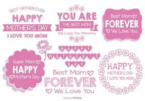 Etiquetas lindas do dia das mães do estilo desenhado mão bonito vetor