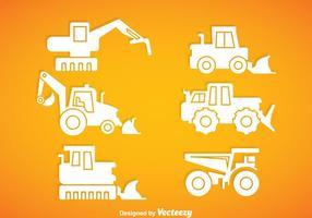 Veículo de construção vetores de ícones brancos