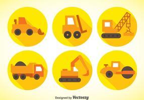 Ícones planos de máquinas de construção vetor