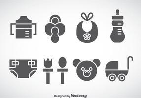 Coisas para crianças e bebês Ícones cinzentos Vector