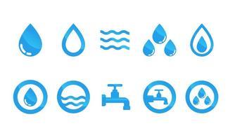Conjunto de vetor de ícones de água plana