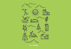 Vetores de ícones de recreação ao ar livre desenhados à mão