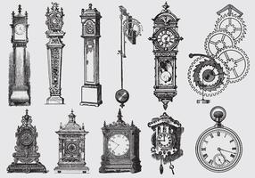Relógios de desenho de estilo antigo vetor