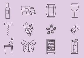 Ícones de uva e vinho