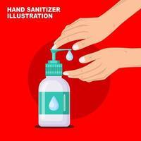 mãos bombeando garrafa de sabonete líquido antibacteriano vetor