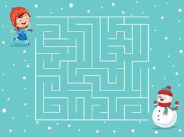 jogo de labirinto com tema de inverno para crianças vetor
