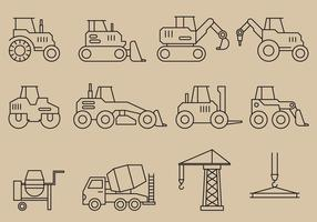 Ícones de veículos de construção vetor