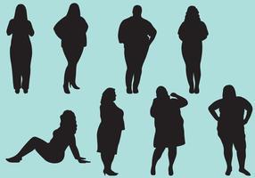 Silhuetas gordas da mulher vetor
