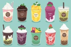 conjunto de bebidas de chá bolha e smoothies