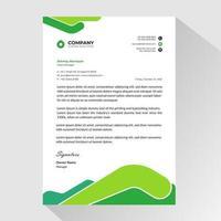 papel timbrado de negócios com formas arredondadas abstratas verdes vetor
