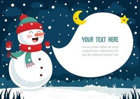 boneco de neve e discurso bolha na paisagem de noite de inverno