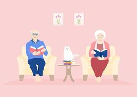 idosos lendo em um período de quarentena