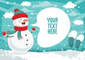 boneco de neve e discurso bolha na paisagem de inverno vetor
