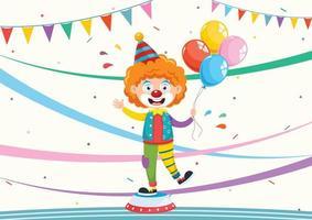 palhaço dos desenhos animados com balões e banners vetor