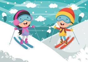 crianças esquiar nas montanhas