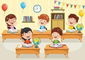 alunos de desenho animado lendo livros nas mesas vetor