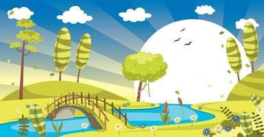 paisagem verde com sol vetor