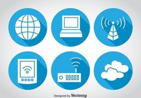 Ícones do círculo azul da internet vetor