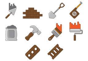 Conjunto de ferramenta de pedreiro vetor