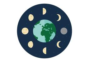 Fases da lua ao redor da Terra vetor
