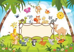 animais selvagens na natureza segurando placa