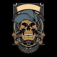 emblema com crânio usando boné e banner vetor