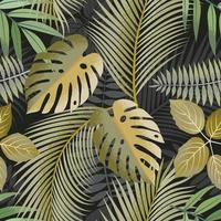padrão sem emenda de folhas tropicais em tons de verde