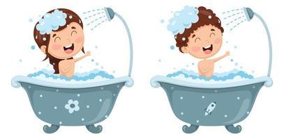 ilustração em vetor de criança tomando banho