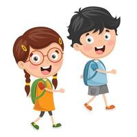 crianças indo para a escola vetor