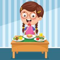 menina tomando café da manhã vetor