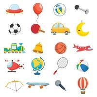 conjunto de elementos de brinquedos para crianças vetor