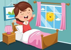 menina acordando vetor